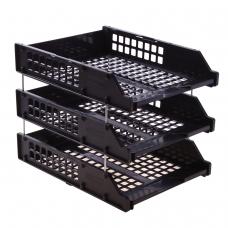 Лотки горизонтальные для бумаг, НАБОР 3 шт. 340х260х240 мм, на металлических стержнях, черные, СТАММ 'Strong', ЛТ112