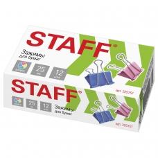 Зажимы для бумаг STAFF, КОМПЛЕКТ 12 шт., 25 мм, на 100 листов, цветные, картонная коробка, 225157