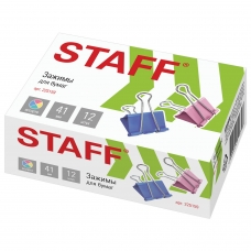 Зажимы для бумаг STAFF, КОМПЛЕКТ 12 шт., 41 мм, на 200 листов, цветные, картонная коробка, 225159