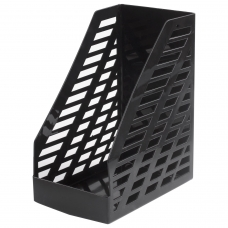 Лоток вертикальный для бумаг BRAUBERG 'MAXI-plus' 250х160х300 мм, сетчатый, черный, 237005