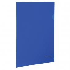 Папка-уголок жесткая, непрозрачная BRAUBERG, синяя, 0,15 мм, 224880