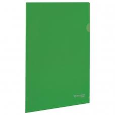 Папка-уголок жесткая, непрозрачная BRAUBERG, зеленая, 0,15 мм, 224881