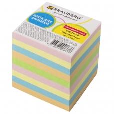 Блок для записей BRAUBERG непроклеенный, куб 9х9х9 см, цветной, 122341