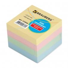 Блок самоклеящийся стикер, BRAUBERG, 51х51 мм, 400 л., 4 цвета, 122858