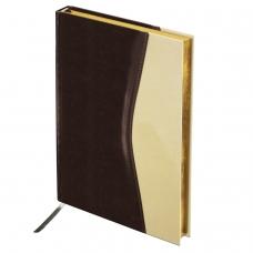 Ежедневник BRAUBERG недатированный, А5, 138х213 мм, 'De Luxe', под комбинированную кожу, 160 л., коричневый/бежевый, золотой срез, 123403