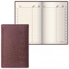 Телефонная книжка А7, 80х130 мм, 56 л., BRAUBERG, вырубной алфавит, 'Cayman', под крокодиловую кожу, коричневая, 125135
