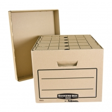 Короб архивный FELLOWES BANKERS BOX 'Basic', 33,5x44,5x27 см, с крышкой, гофрокарт, коричневый, FS-00101