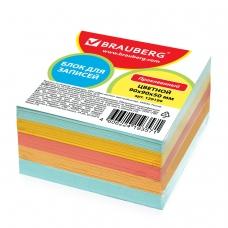 Блок для записей BRAUBERG проклеенный, 9х9х5 см, цветной, 129199