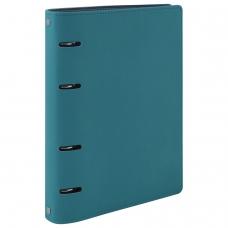Тетрадь на кольцах 120 л. BRAUBERG А5 'Joy', под фактурную кожу, бирюзовый/серо-голубой, 129993