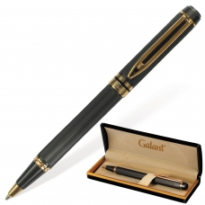 Ручка подарочная шариковая GALANT 'Dark Chrome', корпус матовый хром, золотистые детали, пишущий узел 0,7 мм, синяя, 140397