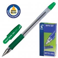 Ручка шариковая масляная с грипом PILOT 'BPS-GP', ЗЕЛЕНАЯ, корпус прозрачный, узел 0,7 мм, линия письма 0,32 мм, BPS-GP-F