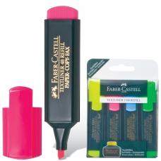 Текстмаркеры FABER-CASTELL, НАБОР 4 штуки, флуоресцентные цветные, 1-5 мм желтый, розовый, синий, зеленый, FC154804