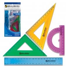 Набор чертежный средний BRAUBERG 'Crystal' линейка 20 см, 2 угольника, транспортир, цветной, 210296