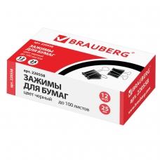 Зажимы для бумаг BRAUBERG, комплект 12 шт., 25 мм, на 100 л., черные, в картонной коробке, 220558