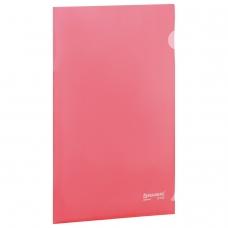 Папка-уголок жесткая BRAUBERG, красная, 0,15 мм, 221640