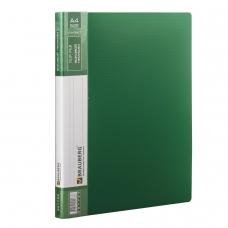 Папка с боковым металлическим прижимом и внутренним карманом BRAUBERG 'Contract', зеленая, до 100 л., 0,7 мм, 221789