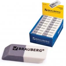 Резинка стирательная BRAUBERG, 41х14х8 мм, серо-белая, в картонном дисплее, 222461