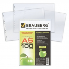 Папки-файлы перфорированные, А5, BRAUBERG, горизонтальные, комплект 100 шт., гладкие, 'Яблоко', 35 мкм, 223085