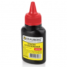 Краска штемпельная BRAUBERG, красная, 45 мл, на водной основе, 223598