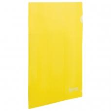 Папка-уголок жесткая BRAUBERG, желтая, 0,15 мм, 223968