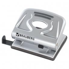 Дырокол BRAUBERG 'Meister', металлический, средний, на 20 листов, серебристый, 224339