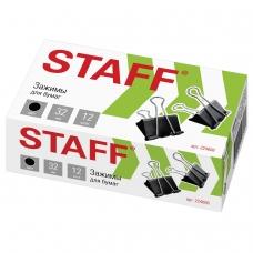 Зажимы для бумаг STAFF, комплект 12 шт., 32 мм, на 140 листов, черные, в картонной коробке, 224608