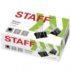 Зажимы для бумаг STAFF, комплект 12 шт., 41 мм, на 200 листов, черные, в картонной коробке, 224609