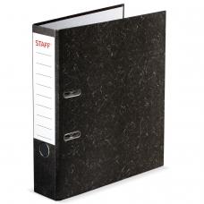 Папка-регистратор STAFF, с мраморным покрытием, 70 мм, без уголка, черный корешок, 224616