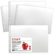 Папки-файлы перфорированные, А3, STAFF, горизонтальные, комплект 50 шт., гладкие, 'Яблоко', 35 мкм, 225770