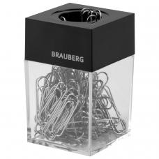 Скрепочница магнитная BRAUBERG, 100 никелированных скрепок 28 мм, прозрачный корпус, черная крышка, 228400