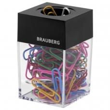 Скрепочница магнитная BRAUBERG, 100 цветных скрепок 28 мм, прозрачный корпус, черная крышка, 228401