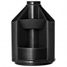 Подставка-органайзер СТАММ 'Mini Desk', вращающаяся, 107х107х140 мм, 10 отделений, черная, ОР70