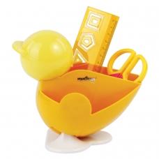 Канцелярский детский набор ЮНЛАНДИЯ 'ЦЫПЛЕНОК', 4 предмета: подставка, линейка со скрепками, ножницы, ластик, цвет желтый, блистер