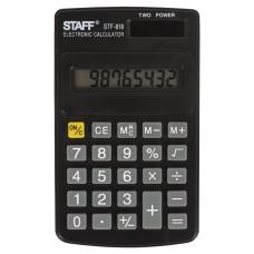 Калькулятор STAFF карманный STF-818, 8 разрядов, двойное питание, 102х62 мм, 250142