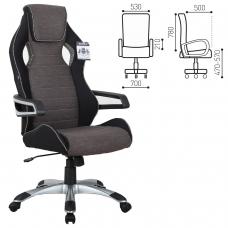 Кресло компьютерное BRABIX 'Techno GM-002', ткань, черное/серое, вставки белые