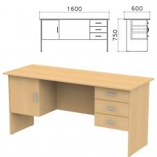Стол письменный 'Канц', 1600х600х750 мм, 2 тумбы, комбинированный, цвет бук невский, СК29.10