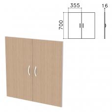 Дверь ЛДСП низкая 'Бюджет', КОМПЛЕКТ 2 шт., 355х16х700 мм, орех онтарио, 402879-160