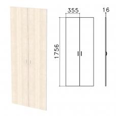 Дверь ЛДСП высокая 'Бюджет', КОМПЛЕКТ 2 шт., 355х16х1756 мм, дуб шамони светлый, 402880-430